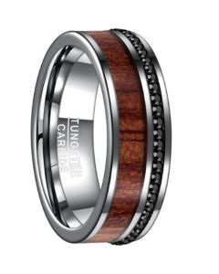 COI Tungsten Carbide Wood Ring With Cubic Zirconia-TG3266B