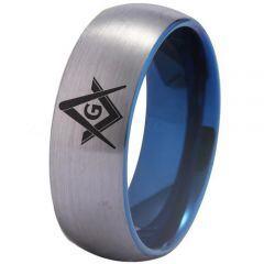 COI Tungsten Carbide Masonic Dome Court Ring-TG3275