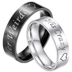 COI Tungsten Carbide Her Weirdo His Crazy Pipe Cut Ring-TG3376