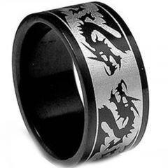 *COI Tungsten Carbide Dragon Pipe Cut Flat Ring-TG3411
