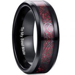 COI Black Red Tungsten Carbide Dragon Beveled Edges Ring-TG3422
