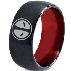 *COI Tungsten Carbide Black Red Deadpool Dome Court Ring-TG3434CC