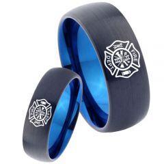 COI Tungsten Carbide Black Blue Firefighter Ring - TG3465