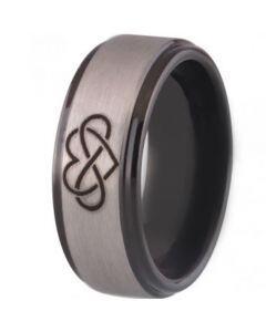 *COI Tungsten Carbide Infinity Heart Step Edges Ring - TG3471B