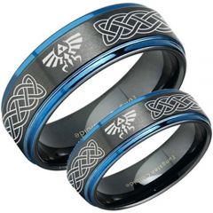 COI Tungsten Carbide Black Blue Zelda Celtic Ring - TG3482