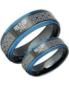 COI Tungsten Carbide Black Blue Zelda Celtic Ring - TG3482