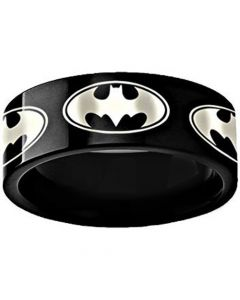 COI Black Tungsten Carbide Batman Pipe Cut Flat Ring - TG3494