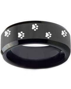COI Black Tungsten Carbide Paws Print Beveled Edges Ring-TG3550