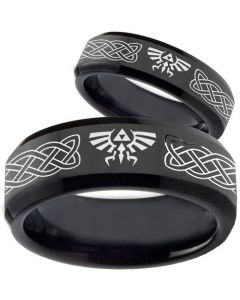 COI Black Tungsten Carbide Legend of Zelda Ring-TG3561BB