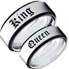 COI Tungsten Carbide Black Silver King Queen Ring-TG3573
