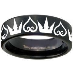 COI Black Tungsten Carbide Kingdom & Heart Ring  - TG3580CC