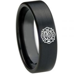 COI Black Tungsten Carbide FireFighter Pipe Cut Ring-TG3628