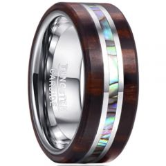 COI Tungsten Carbide Wood & Abalone Shell Ring - 365