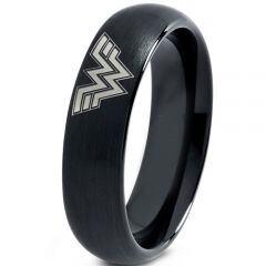 *COI Black Tungsten Carbide Wonder Woman Dome Court Ring-TG3681