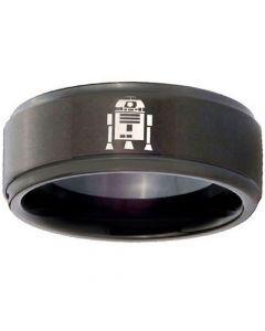 COI Black Tungsten Carbide R2D2 Step Edges Ring - TG3742