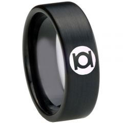 COI Black Tungsten Carbide Green Lantern Pipe Cut Ring-TG3795AA