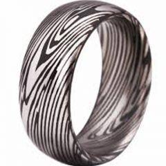 COI Tungsten Carbide Damascus Dome Court Ring - TG3807