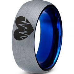 COI Tungsten Carbide Heartbeat & Heart Dome Court Ring-TG3977