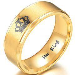 *COI Gold Tone Tungsten Carbide King Crown Pipe Cut Ring-TG3988