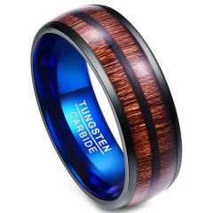 COI Tungsten Carbide Black Blue Wood Dome Court Ring-TG4009