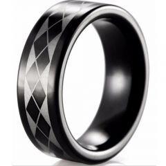 COI Black Tungsten Carbide Checkered Flag Ring - TG4025B