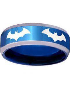 *COI Blue Tungsten Carbide Batman Beveled Edges Ring-TG3867