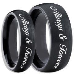 COI Black Tungsten Carbide Always & Forever Ring-TG4083CC