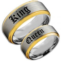COI Tungsten Carbide Gold Tone Silver King Queen Ring-TG4107