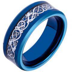 COI Blue Tungsten Carbide Dragon Beveled Edges Ring-TG4195