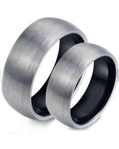 COI Tungsten Carbide Black Silver Dome Court Ring-TG4354