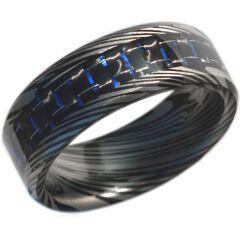 COI Tungsten Carbide Damascus Ring With Carbon Fiber-TG4473