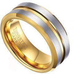 COI Gold Tone Tungsten Carbide Center Groove Ring-TG4475CC