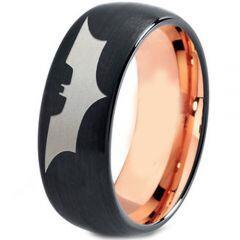 *COI Tungsten Carbide Black Rose Batman Dome Court Ring-TG4477