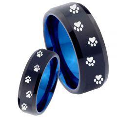 COI Tungsten Carbide Black Blue Paws Track Beveled Edges Ring-TG4480