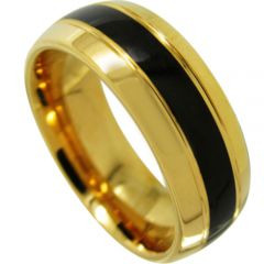 COI Tungsten Carbide Black Gold Tone Double Grooves Ring-TG4485