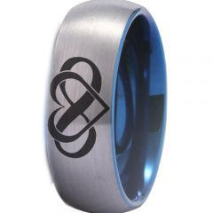 COI Tungsten Carbide Infinity Heart Dome Court Ring-TG4489CC