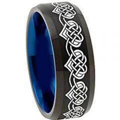COI Tungsten Carbide Black Blue Hearts Beveled Edges Ring-TG4492