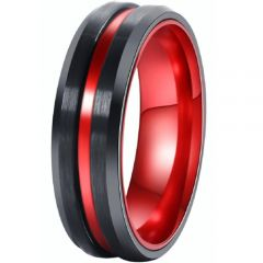 *COI Tungsten Carbide Black Red Center Groove Ring-TG4527AA
