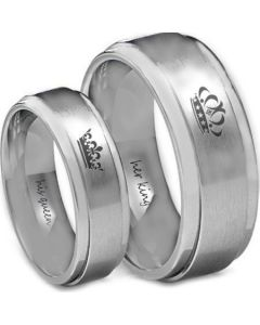 *COI Tungsten Carbide King Queen Crown Ring-TG4582