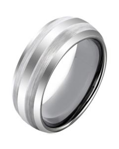 COI Tungsten Carbide Double Line Dome Court Ring-TG4600AA
