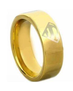 *COI Gold Tone Tungsten Carbide Superman Pipe Cut Ring-TG4612CC