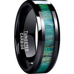 COI Black Tungsten Carbide Wood Beveled Edges Ring-TG4632