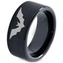 COI Black Tungsten Carbide Bat Pipe Cut Flat Ring - TG4661