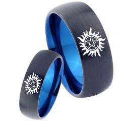 COI Tungsten Carbide Black Blue Supernatural Ring - TG4666C