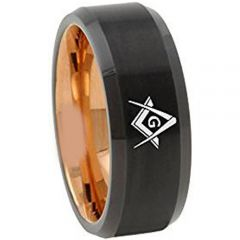 COI Tungsten Carbide Black Rose Masonic Beveled Edges Ring-TG4668