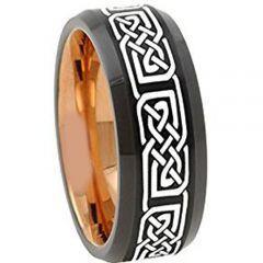 COI Tungsten Carbide Black Rose Celtic Beveled Edges Ring-TG4672