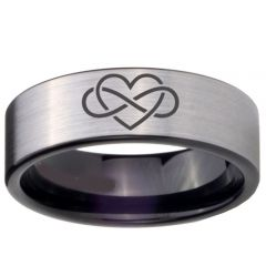 COI Tungsten Carbide Infinity Heart Pipe Cut Ring-TG4675BB