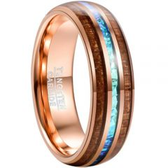 COI Tungsten Carbide Crushed Opal and Wood Dome Court Ring-4682