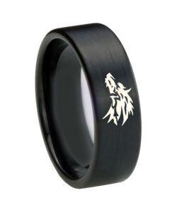 COI Black Tungsten Carbide Wolf Pipe Cut Flat Ring - TG4688CC