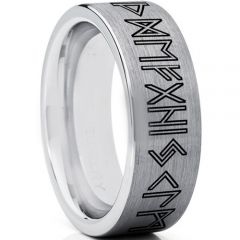COI Tungsten Carbide Ring With Custom Rune Engraving-TG5002
